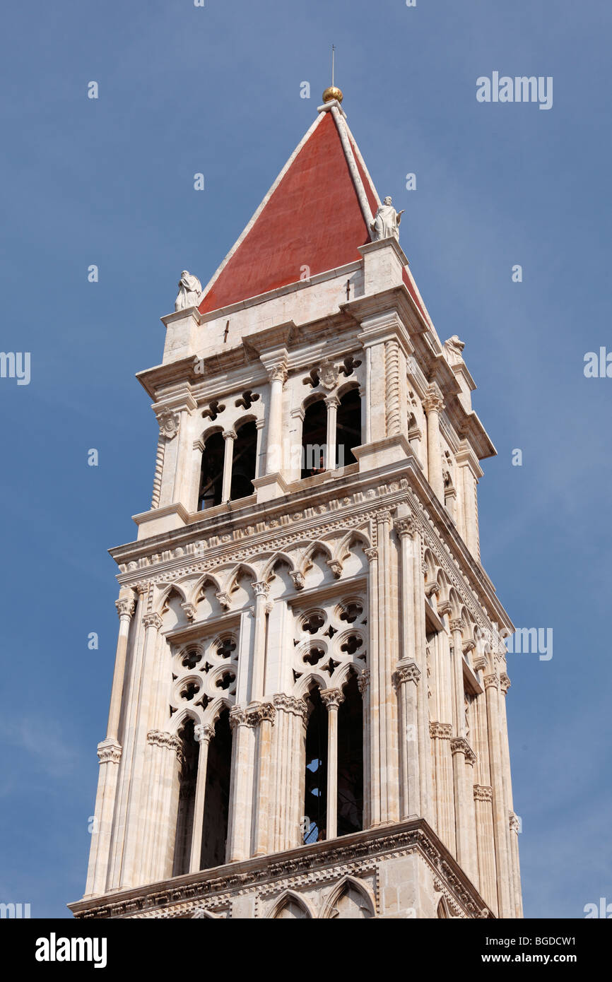 Spire of the cathedral of St. Lawrence, Sveti Lovro, Trogir, Dalmatia, Croatia, Europe - Stock Image