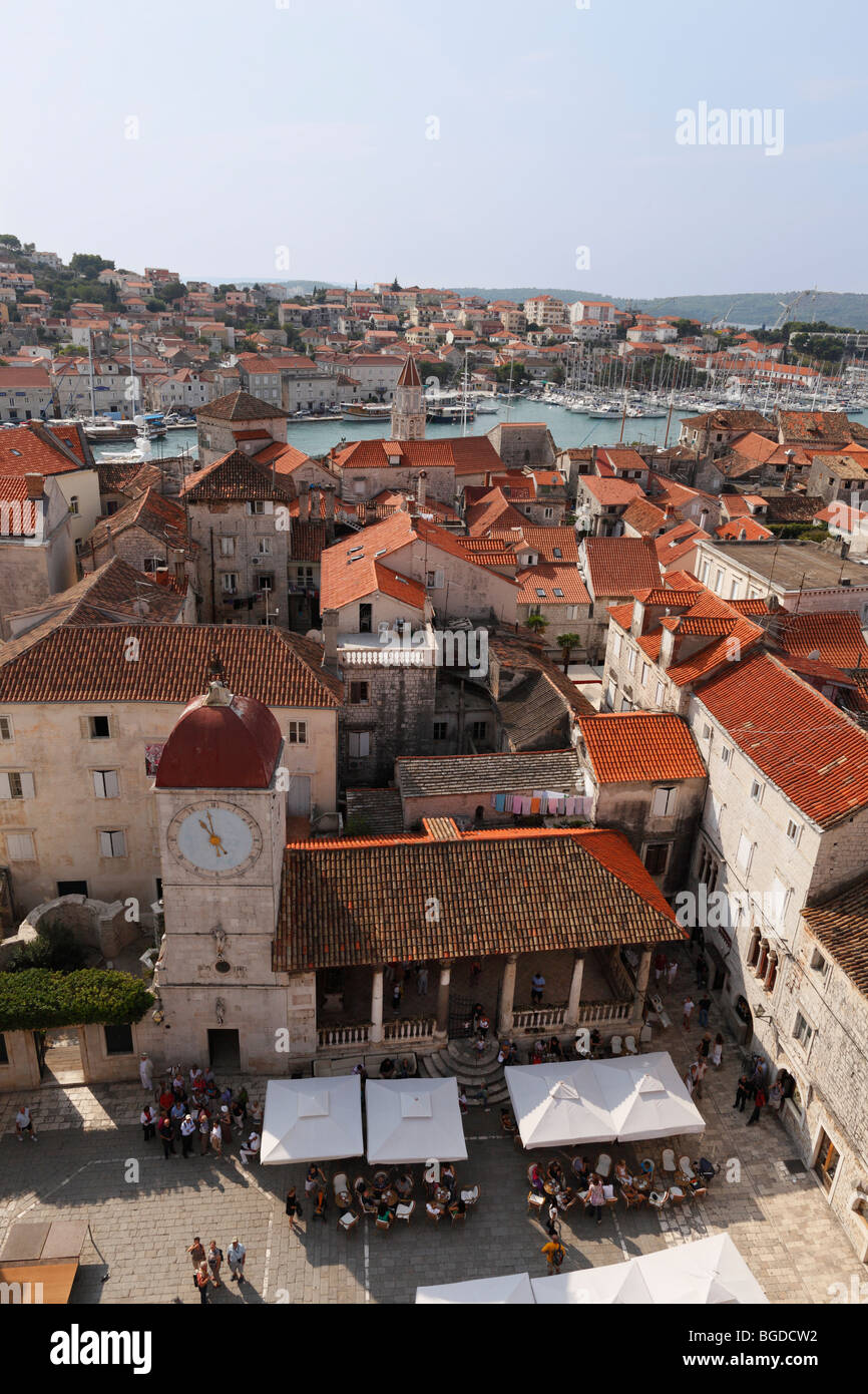 View from the spire of the cathedral over the loggia and belfry, in the back Ciovo island, Trogir, Dalmatia, Croatia, - Stock Image