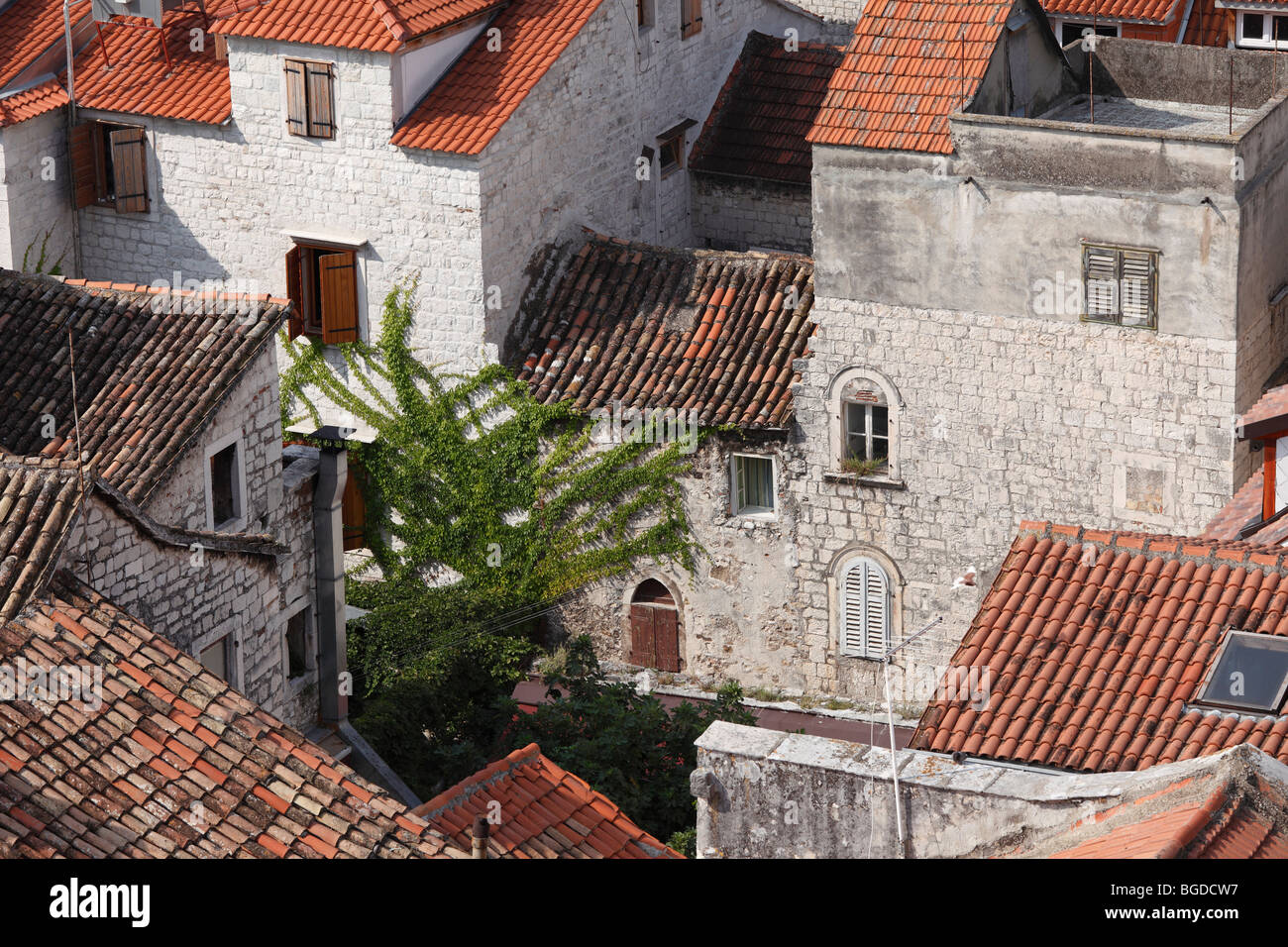 View from the spire of the cathedral, Trogir, Dalmatia, Croatia, Europe - Stock Image