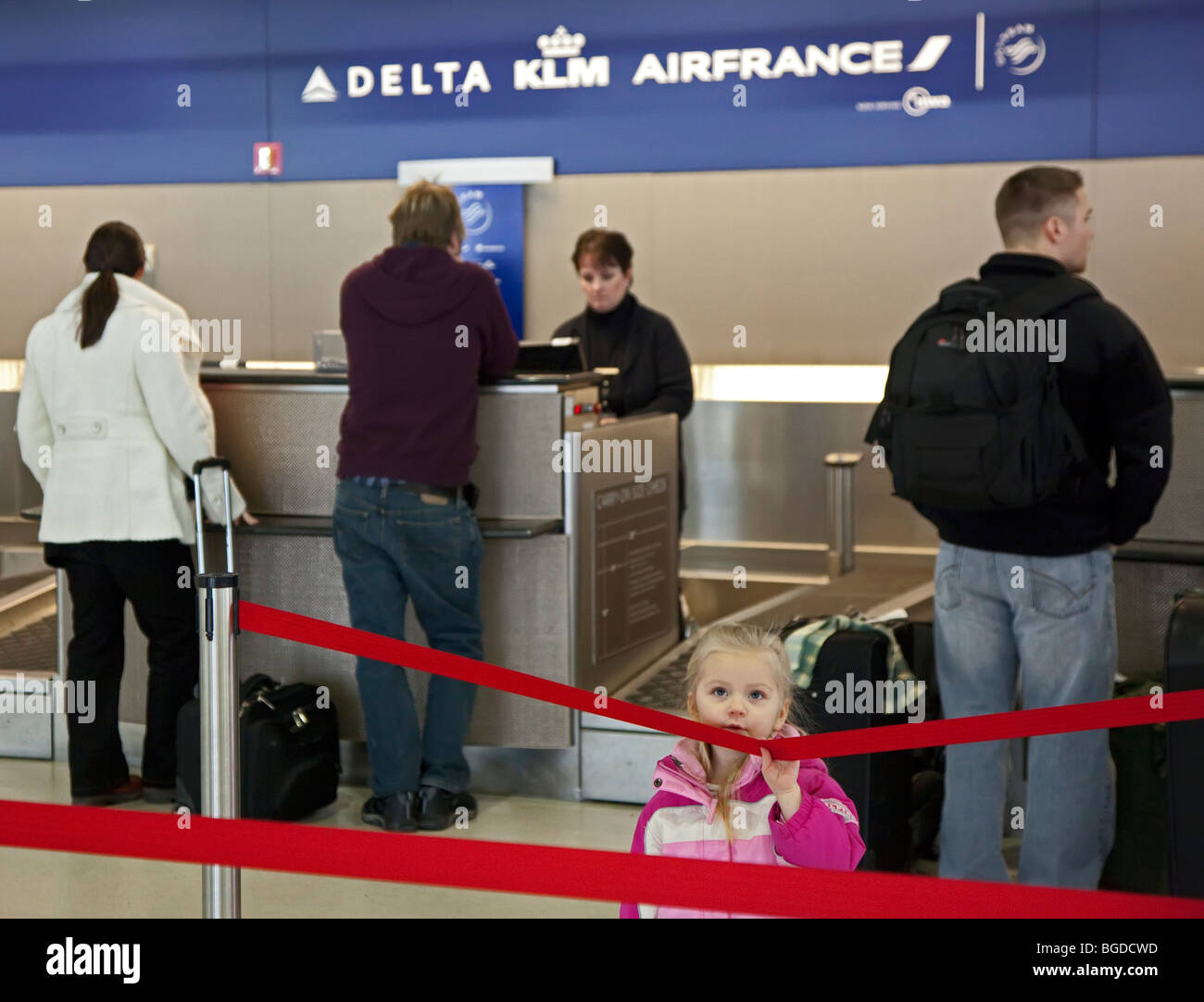 Ticket Counter at Detroit Metro Airport - Stock Image
