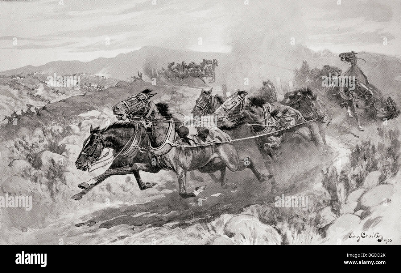 The disaster at Koornspruit, South Africa, 30th March 1900. Driverless teams stampeding during the second Boer War. - Stock Image