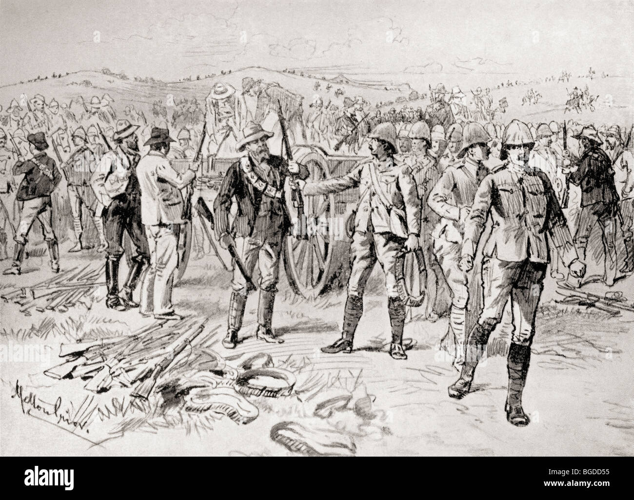 Men of the Royal Irish Rifles and mounted infantry surrendering their weapons to the troops of general Christiaan - Stock Image
