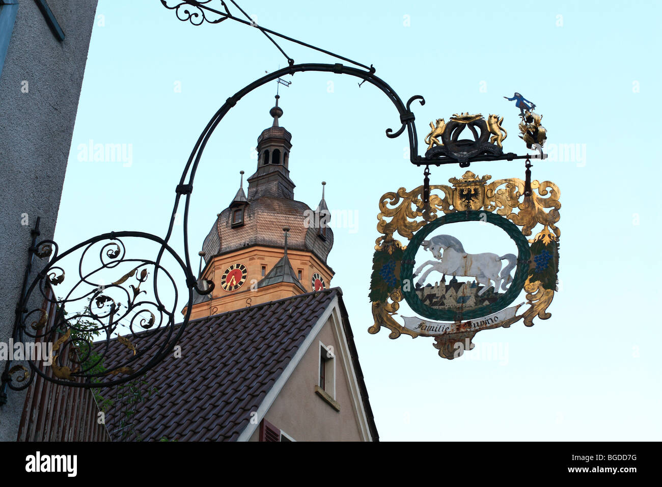 Tavern sign, tower of the church, Neuenstein, Hohenlohe, Baden-Wuerttemberg, Germany, Europe - Stock Image