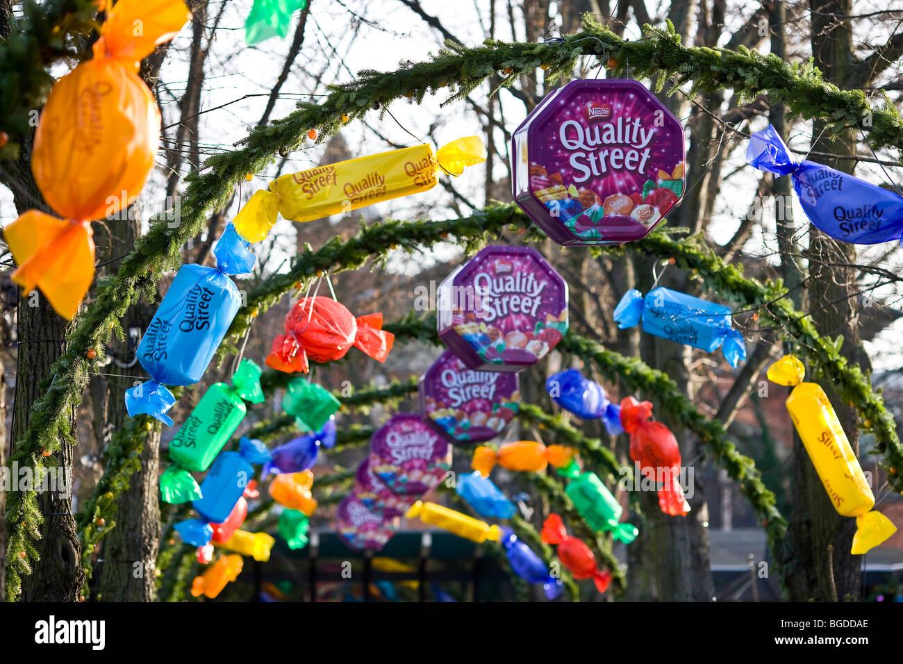 The Quality Street decorations in Tivoli, Copenhagen, Denmark, Europe - Stock Image