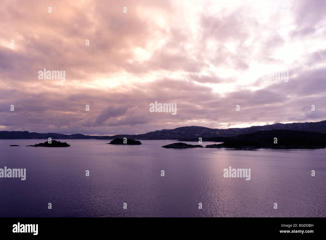 Fjord landscape in the twilight at Bergen, Norway, Scandinavia, Northern Europe - Stock Image