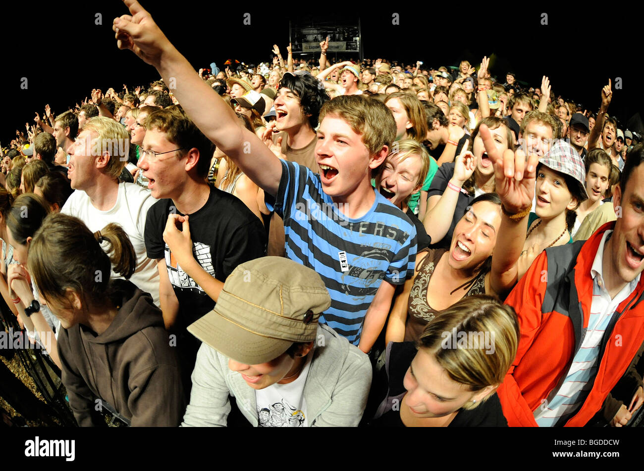 Crowd at an open air concert, Sonnenrot festival Geretsried, Bavaria, Germany, Europe - Stock Image