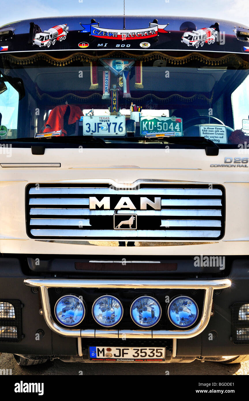 MAN truck, front, Bavaria, Germany, Europe - Stock Image