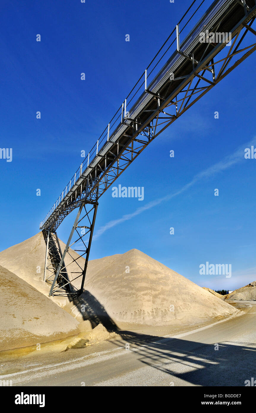 Conveyor belt, gravel pit near Oberhaching, Bavaria, Germany, Europe - Stock Image