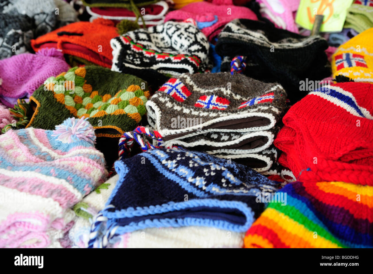 Typical Norwegian knit caps at a souvenir stand at the market in Bergen, Norway, Scandinavia, Northern Europe - Stock Image