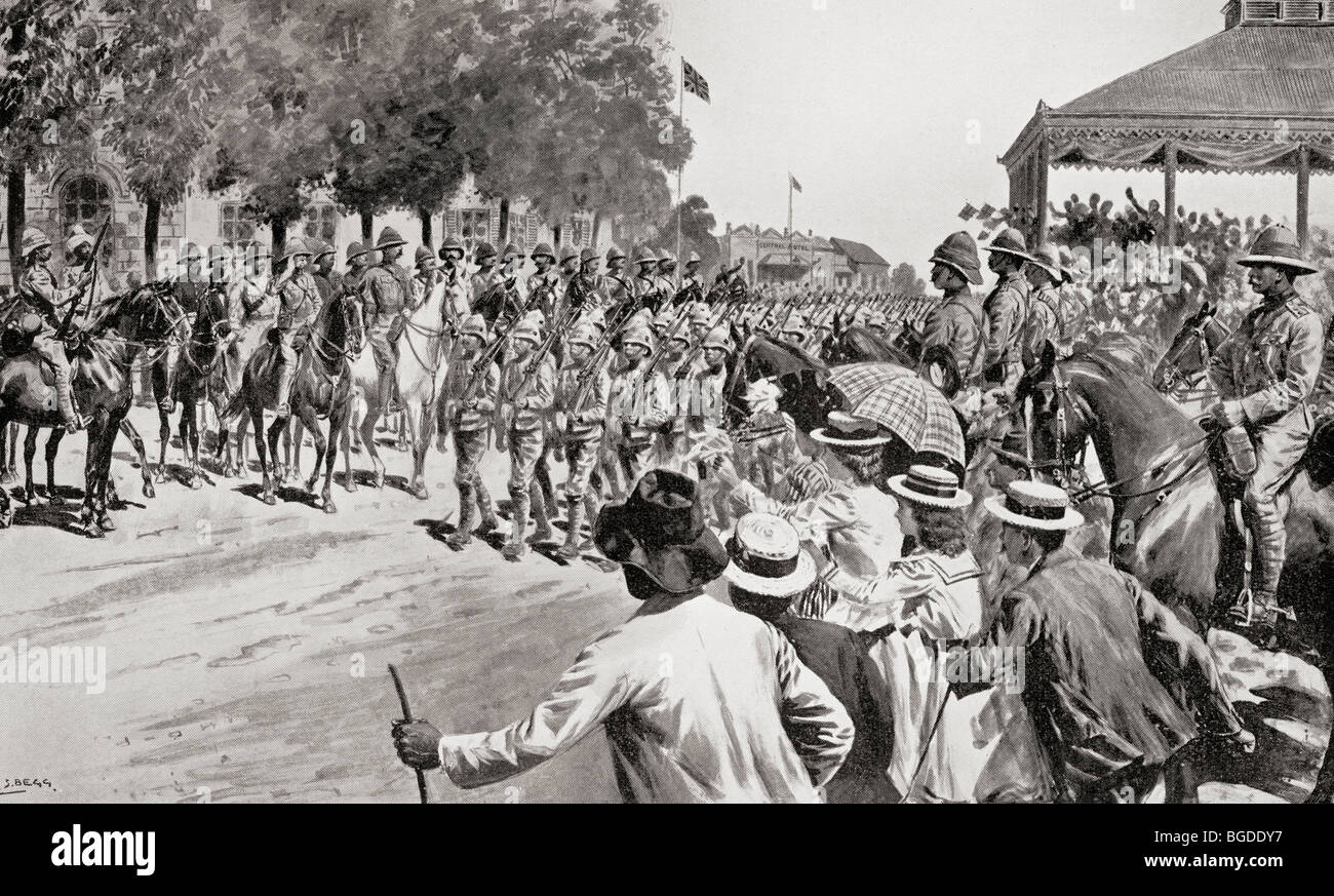 The surrender of Kroonstadt during the second Boer War. Troops marching past Lord Roberts and staff. - Stock Image