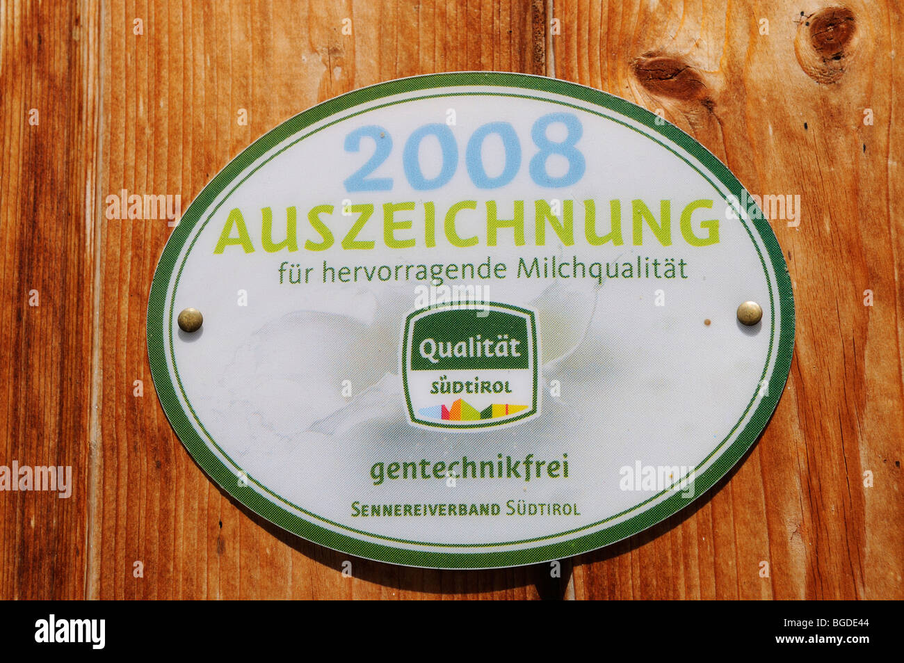 Free of gene technology, quality award by the dairy industry, South Tyrol, Italy, Europe - Stock Image