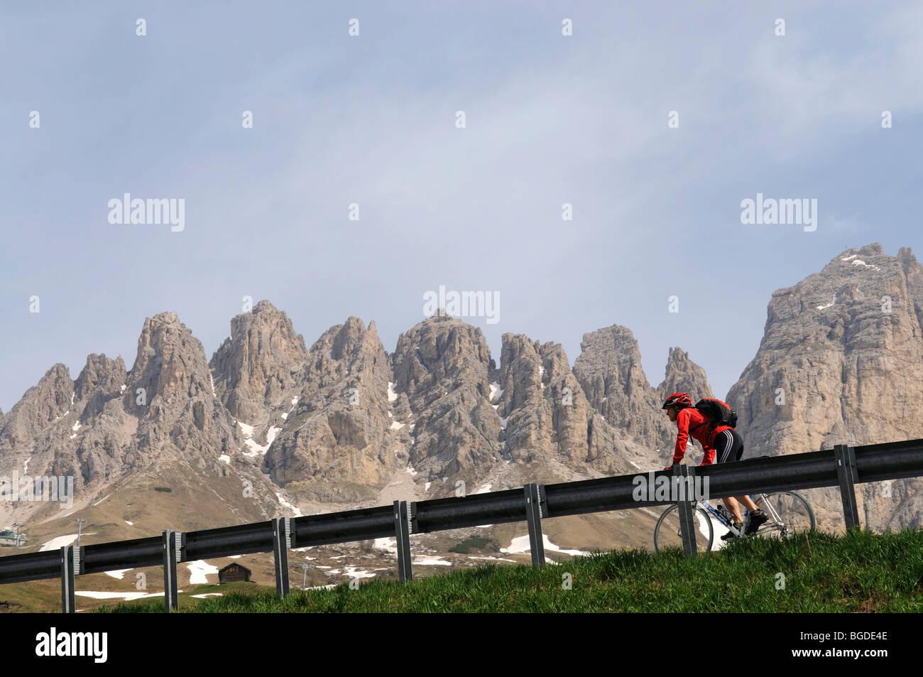 Bike racer at the Passo Gardena, Gardena Pass, South Tyrol, Italy, Europe - Stock Image