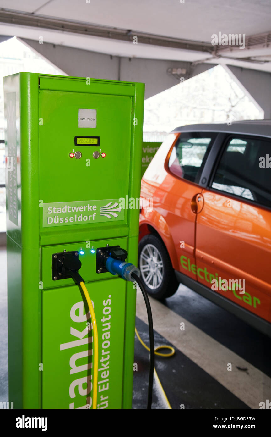 charging station for electrical cars of a rental car company in a public parking garage Stock Photo