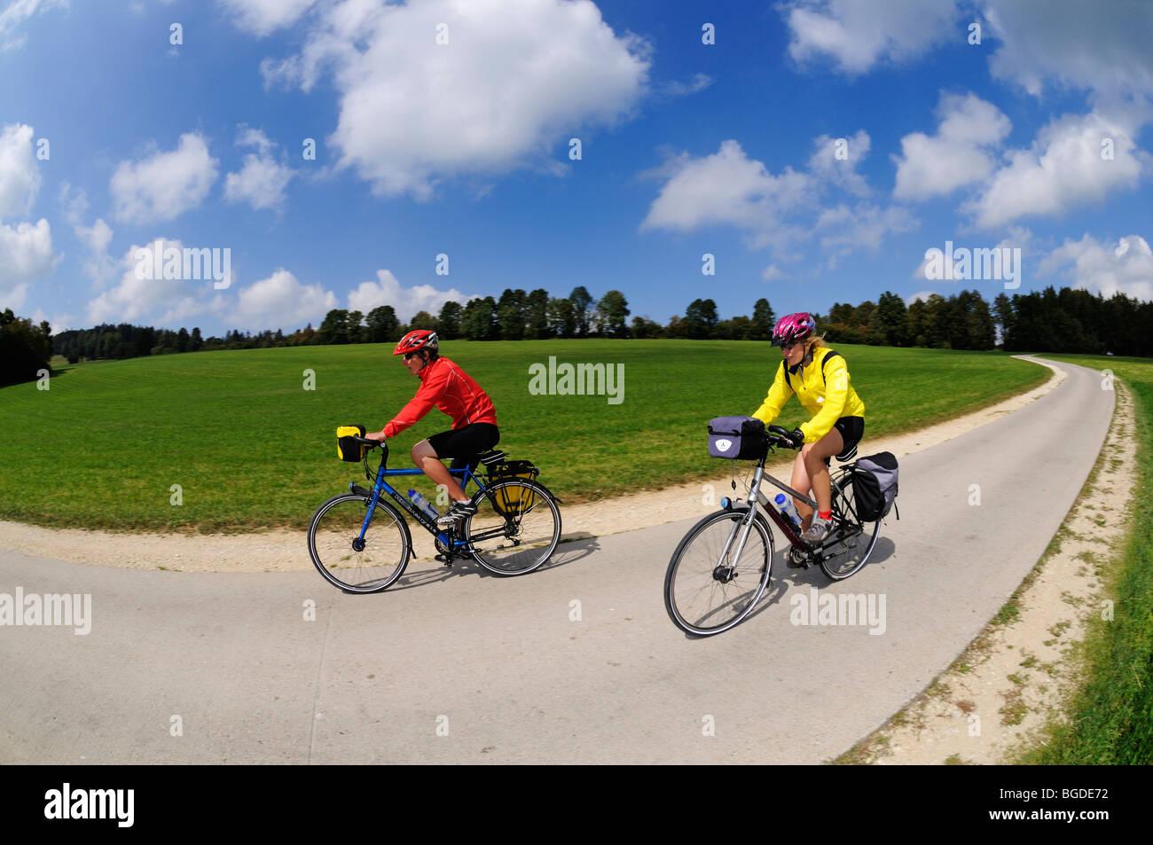 Cyclists at Le Pont de Martel, Canton Vaud, Switzerland, Europe - Stock Image