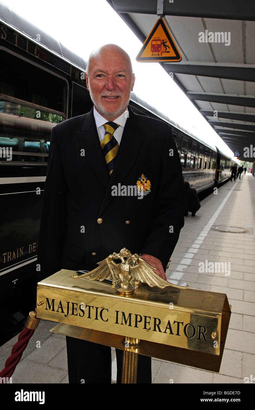 Train manager, Imperial Dinner Train from Munich to Fuessen, Bavaria, Germany, Europe - Stock Image