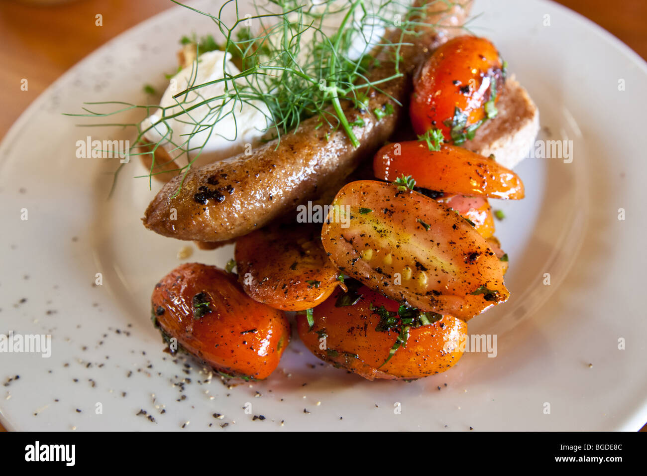 Realism photo of fried breakfast in a cafe, Australia Stock Photo