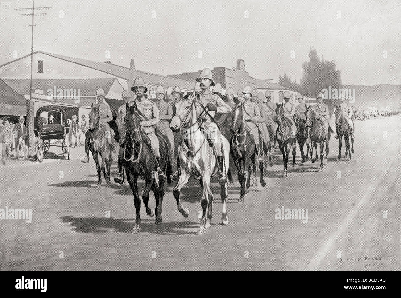 Lord Roberts entry into Pretoria, South Africa, June 5th 1900. Field Marshal Frederick Sleigh Roberts, 1st Earl - Stock Image