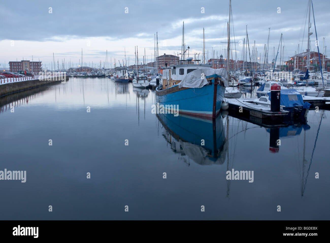 Yachts and boats berthed in Hartlepool Marina on a winter's day - Stock Image