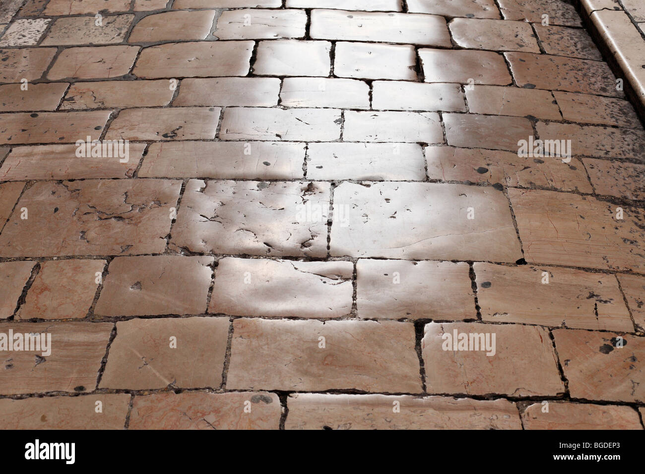 Old stone pavement in the old town of Zadar, Dalmatia, Croatia, Europe - Stock Image