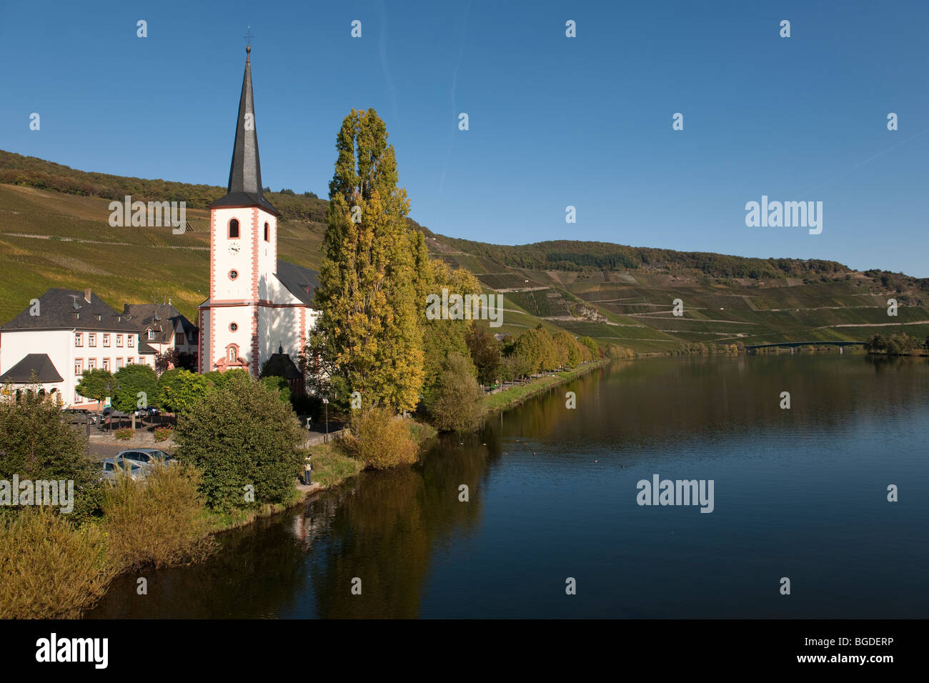 Piesport on the Moselle river, Rhineland-Palatinate, Germany, Europe - Stock Image