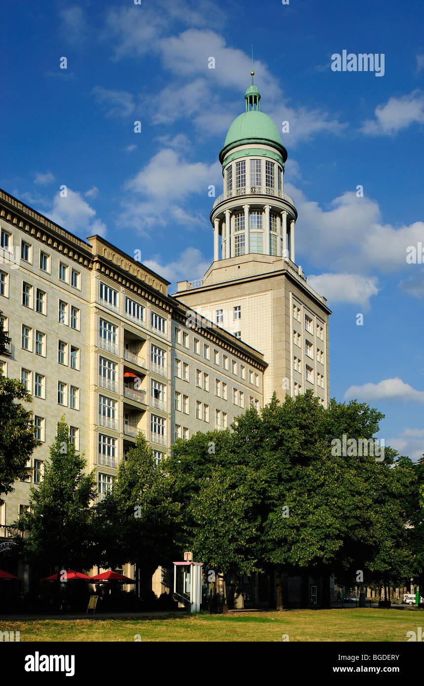 Frankfurter Tor building in soviet architectural style. Karl Marx Allee, Frankfurter Allee, former Stalinallee, - Stock Image