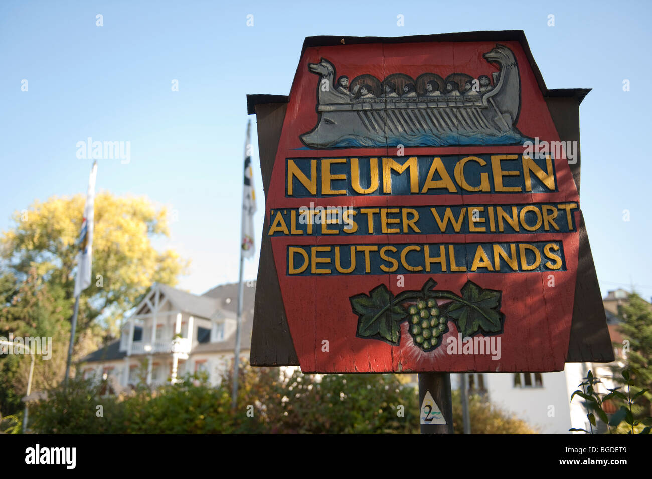 Sign of Neumagen, Germany's oldest wine town, Neumagen-Dhron, Moselle, Rhineland-Palatinate, Germany, Europe - Stock Image