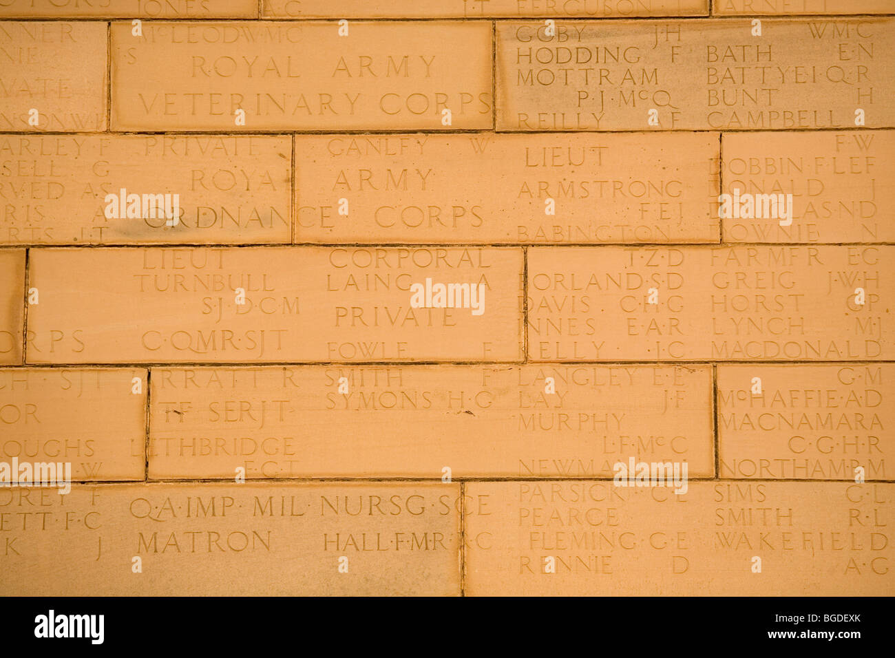 Names of casualties inscribed on India Gate in New Delhi, India. - Stock Image