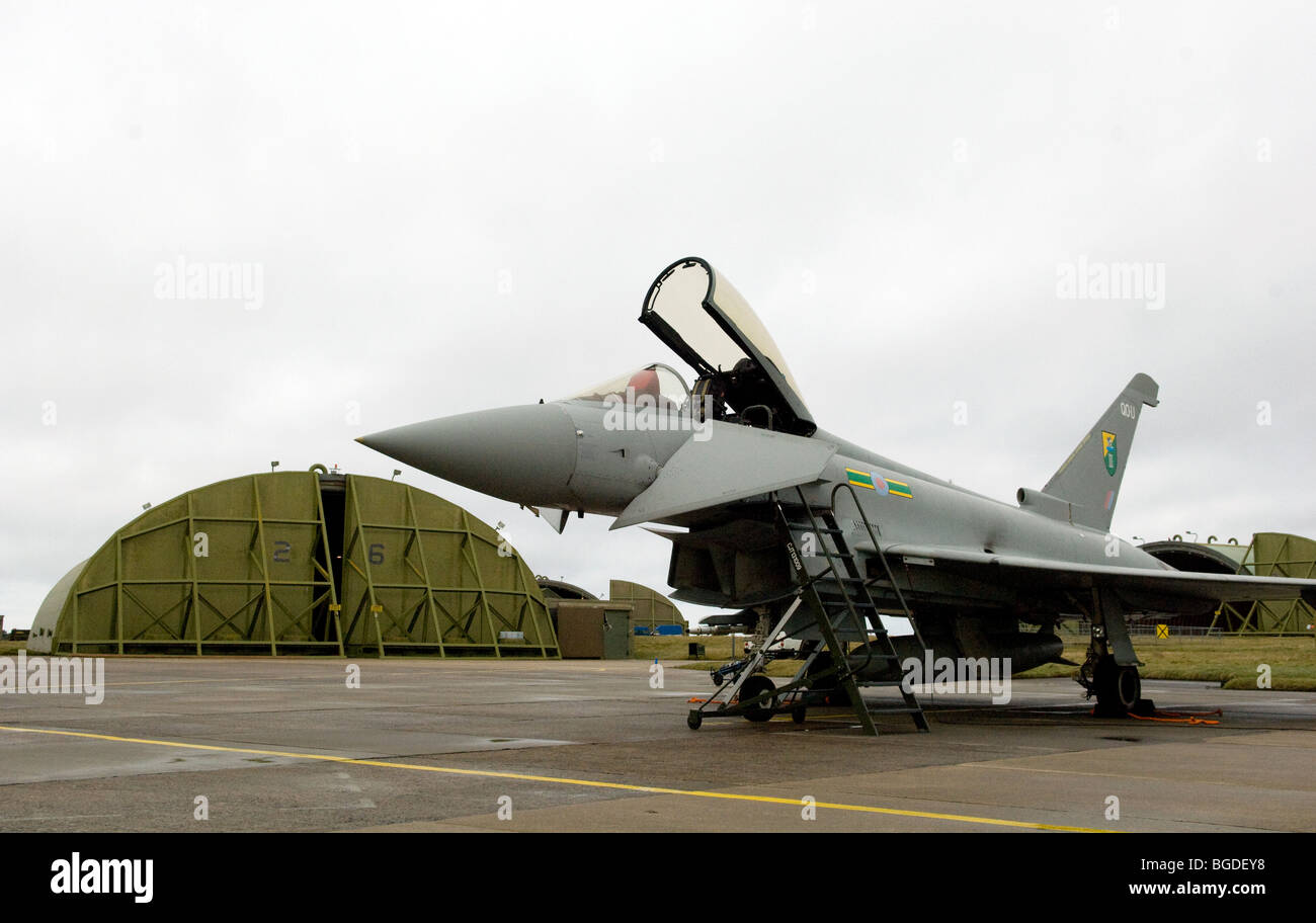 Typhoon F2 - Eurofighter Fast Jet - 3 Squadron Royal Air Force outside a hangar in the United Kingdom. Photo by Stock Photo