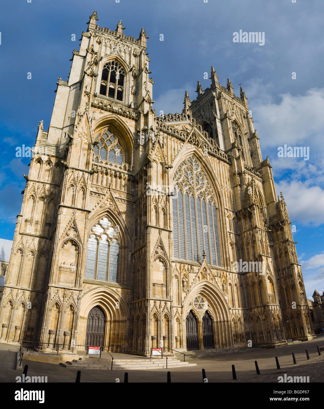 York Minster west entrance, York, Yorkshire, England, United Kingdom, Europe Stock Photo