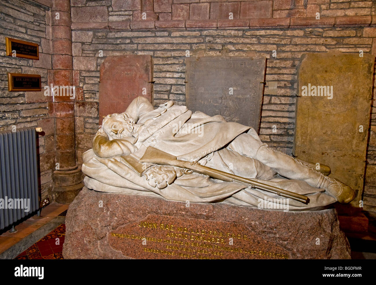 Tomb of the Arctic Explorer John Rae in the St Magnus Cathedral Kirkwall Orkney, Highland Scotland.  SCO 5656 - Stock Image