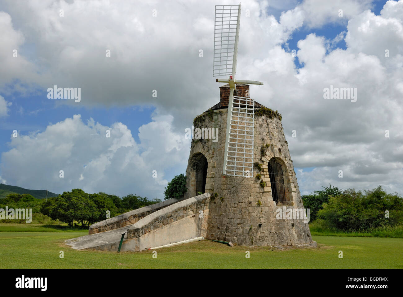Historic windmill for the operation of a sugar cane press, Estate Whim Museum, St. Croix island, U.S. Virgin Islands, - Stock Image