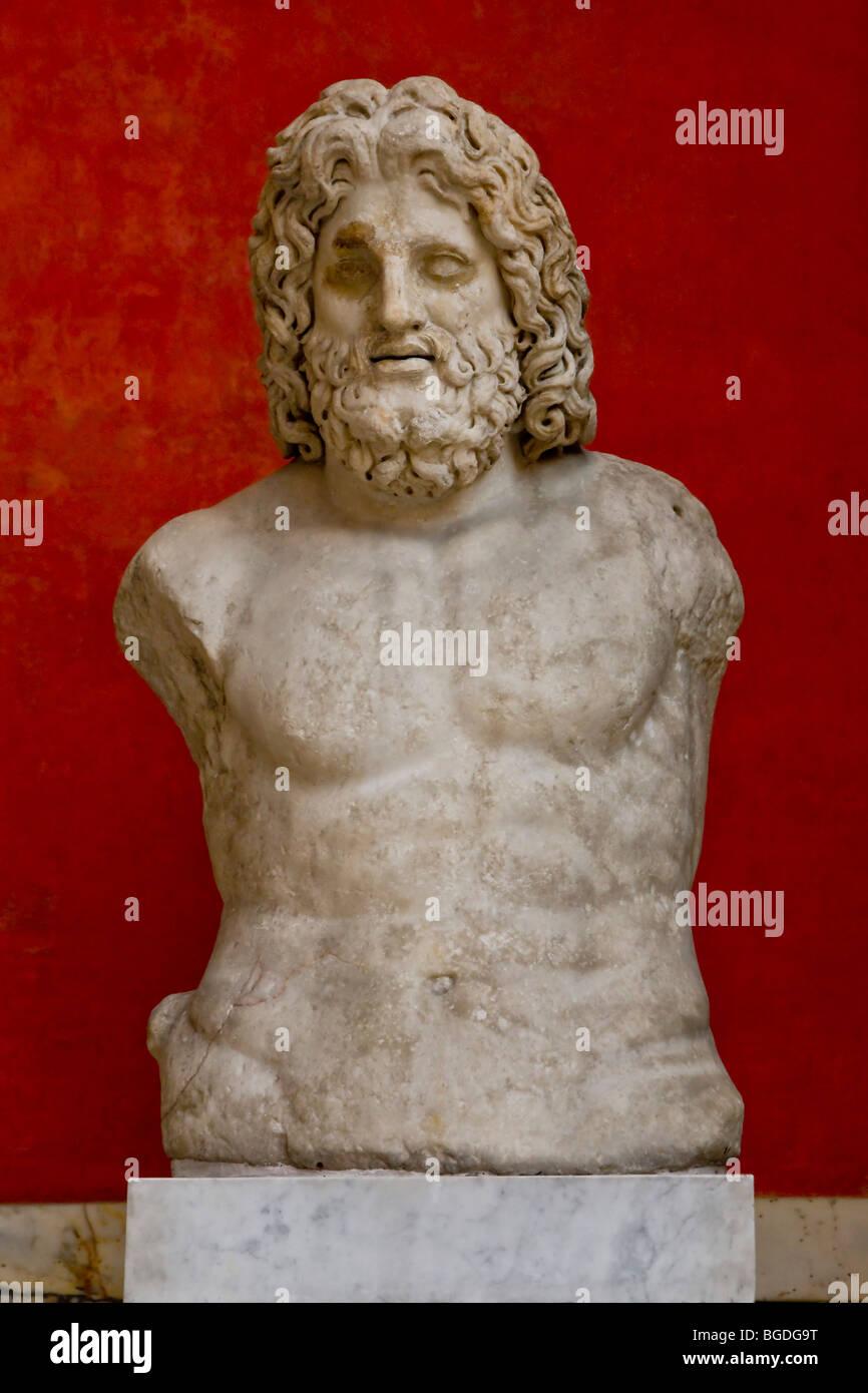 Marble bust of Zeus, Glyptotek, Copenhagen, Denmark, Europe - Stock Image
