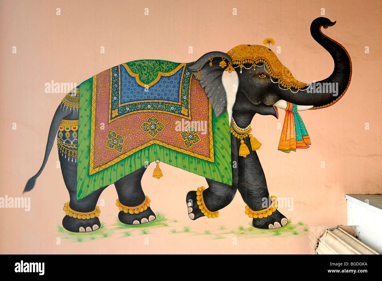 Mural of a decorated elephant, Jaipur, Rajasthan, North India, India, South Asia, Asia Stock Photo