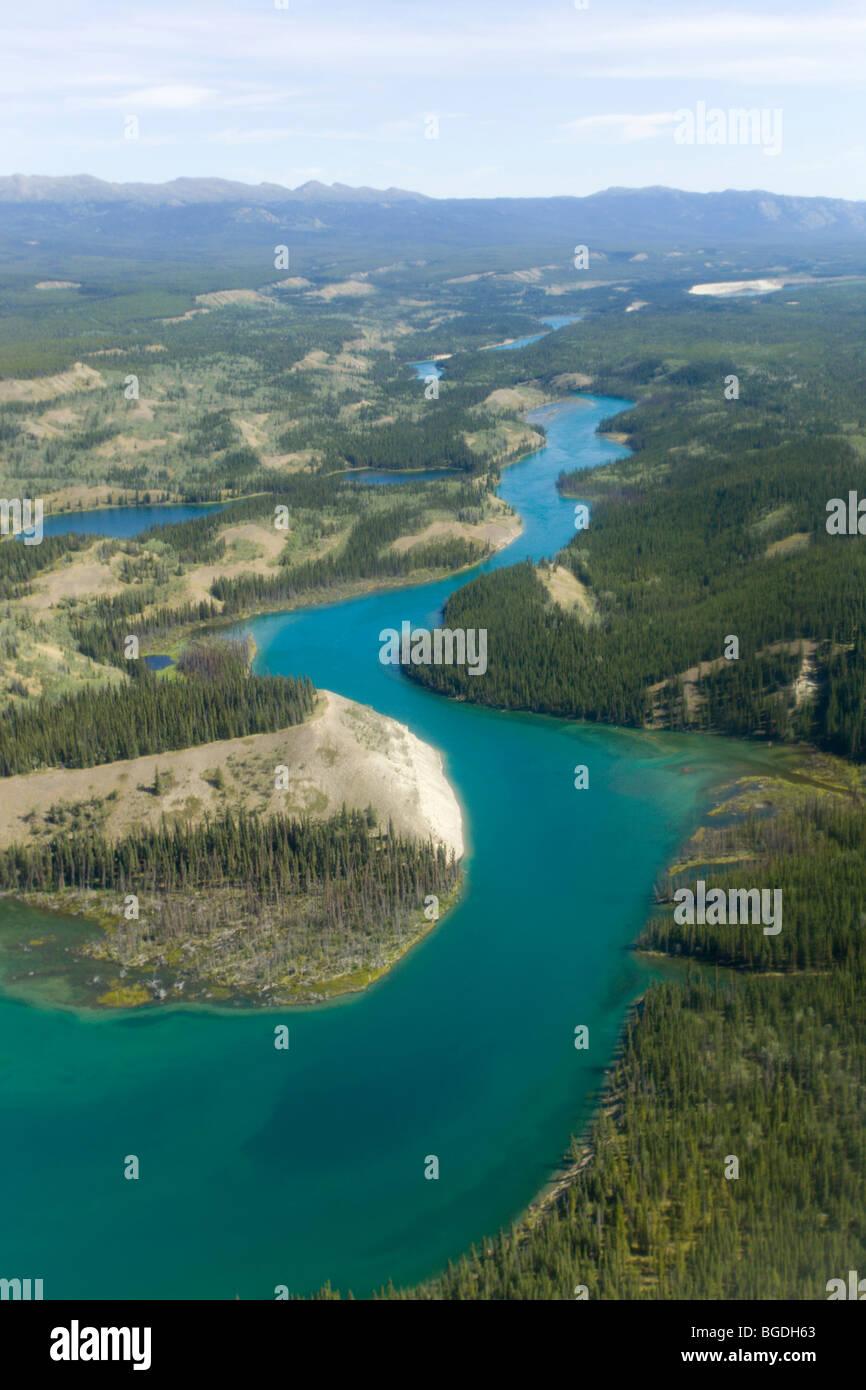 Aerial of Yukon River near Miles Canyon, southbound, Whitehorse, Yukon Territory, Canada - Stock Image