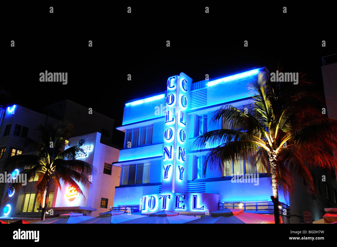 Colony Hotel, Ocean Drive, Miami South Beach, Art Deco district, Florida, USA - Stock Image