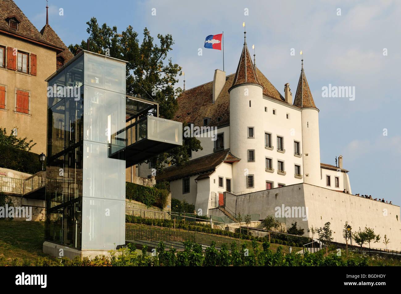 Chateau de Nyon palace, Lake Geneva, Canton Vaud, Switzerland, Europe - Stock Image