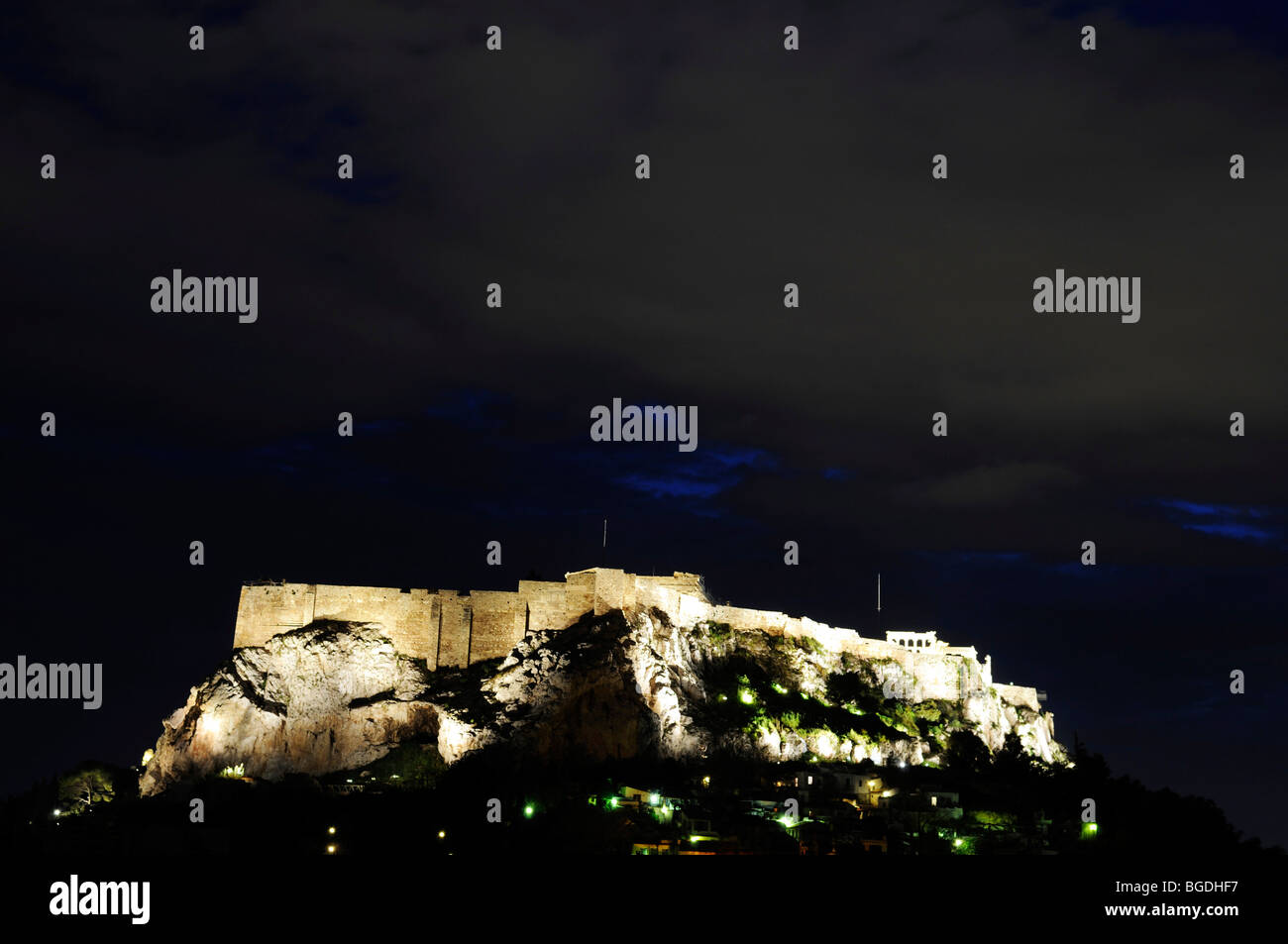 Acropolis at night, Athens, Greece, Europe - Stock Image