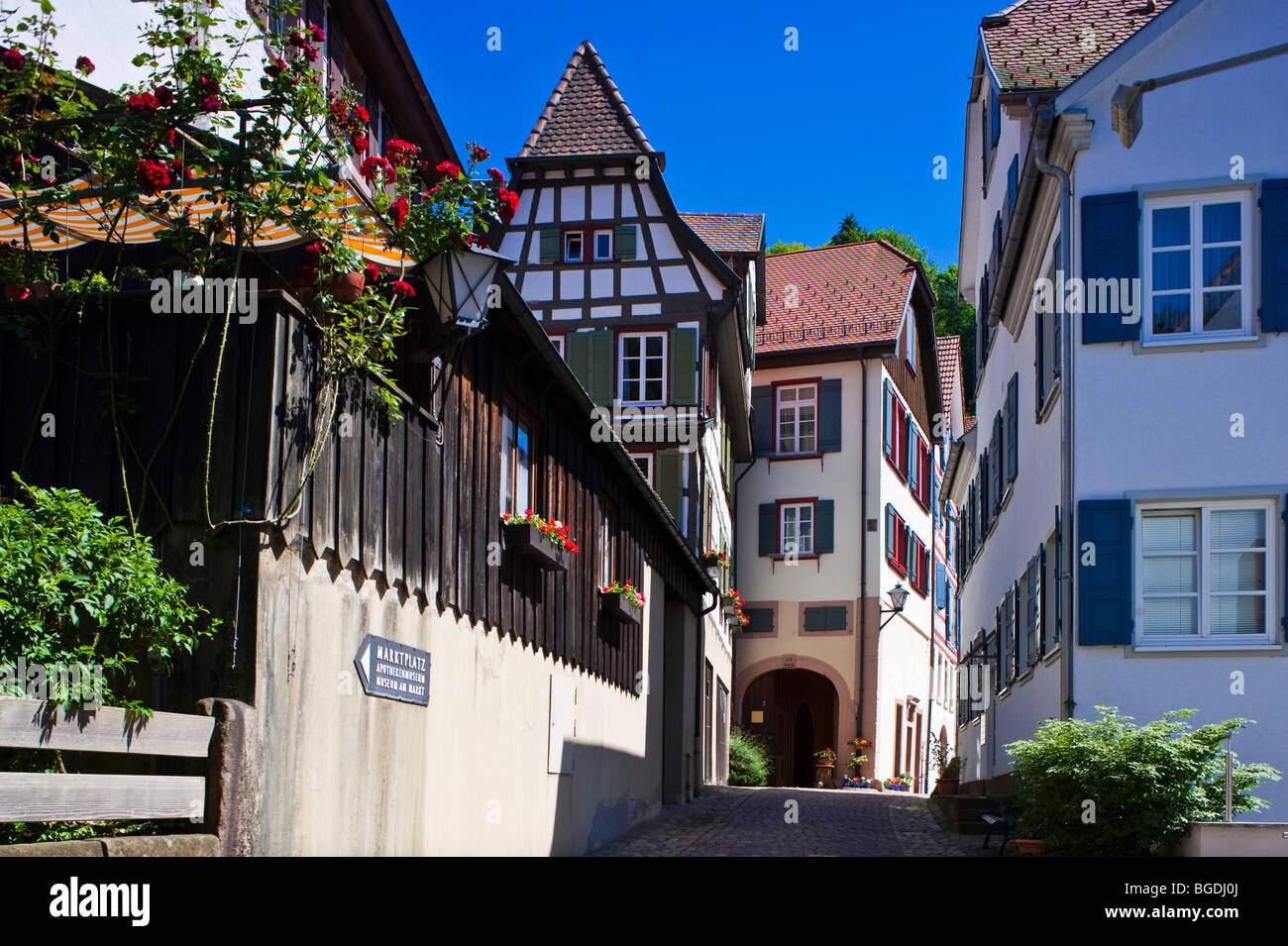 Half timber in the Spitalstrasse street, Schiltach, Black Forest, Baden-Wuerttemberg, Germany, Europe - Stock Image