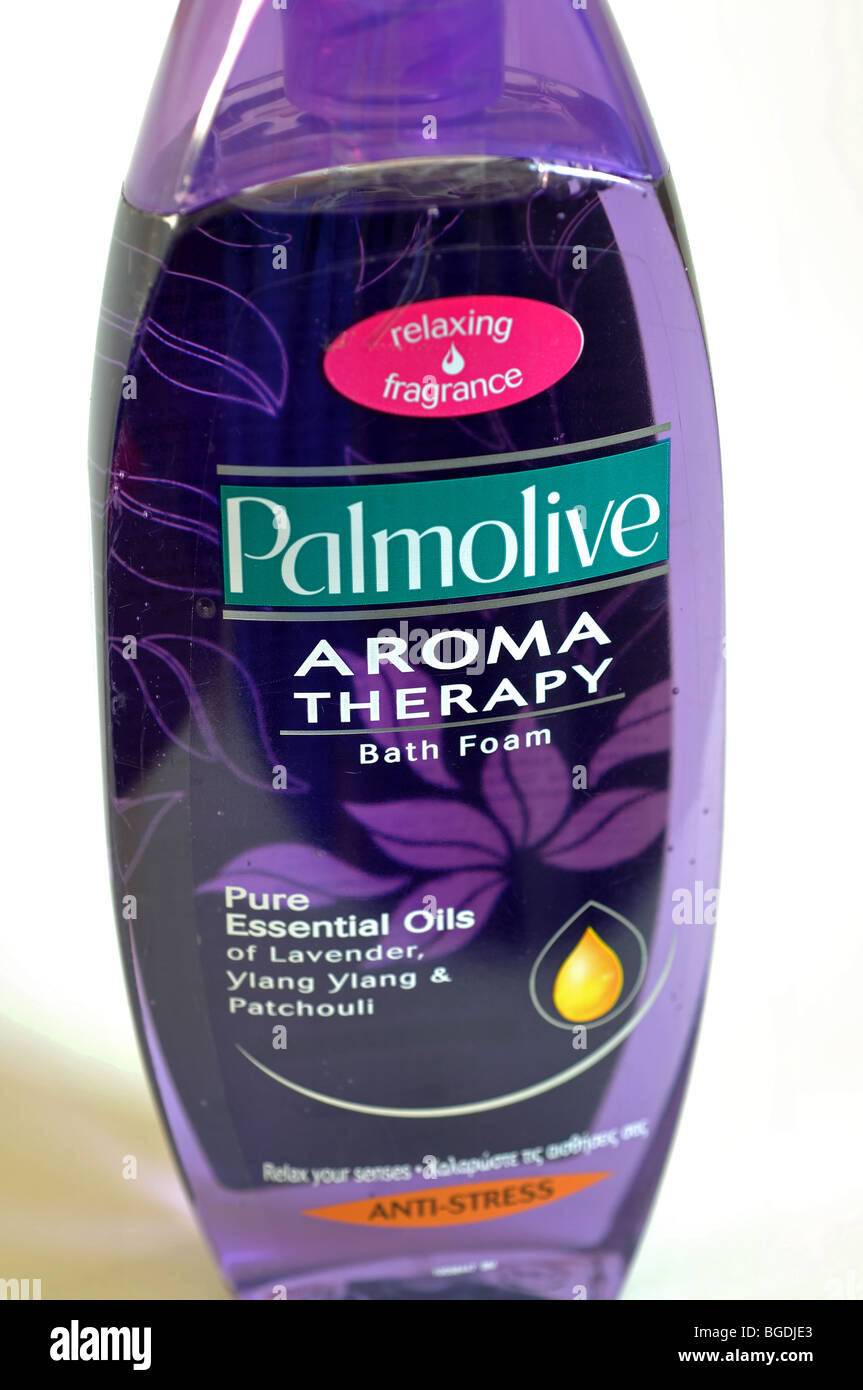 Bottle of Palmolive Aroma Therapy Bath Foam - Stock Image