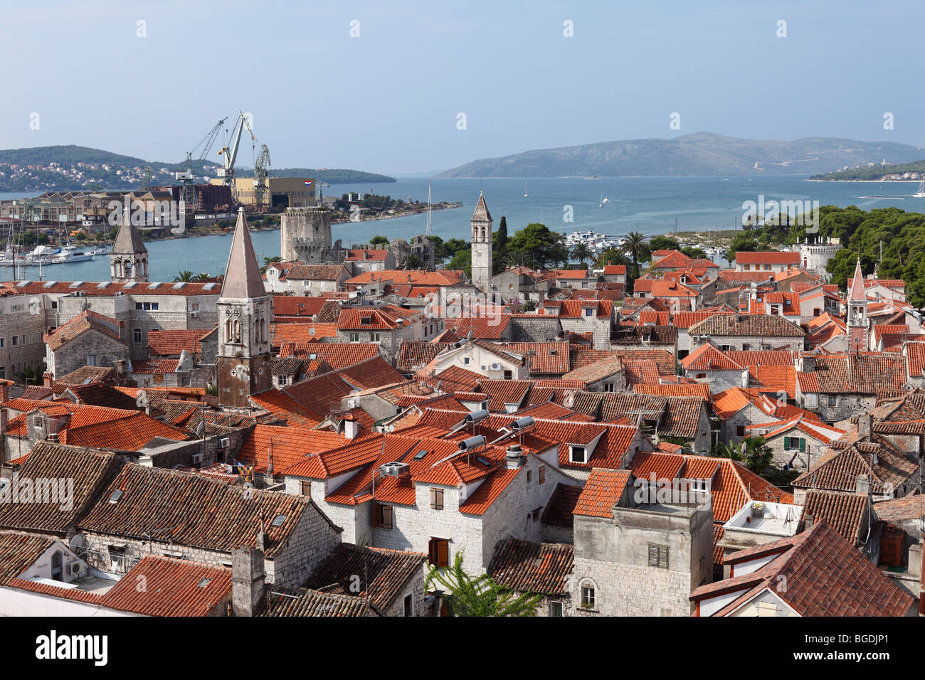 View from the spire of the cathedral, Trogir, Dalmatia, Adriatic, Croatia, Europe - Stock Image