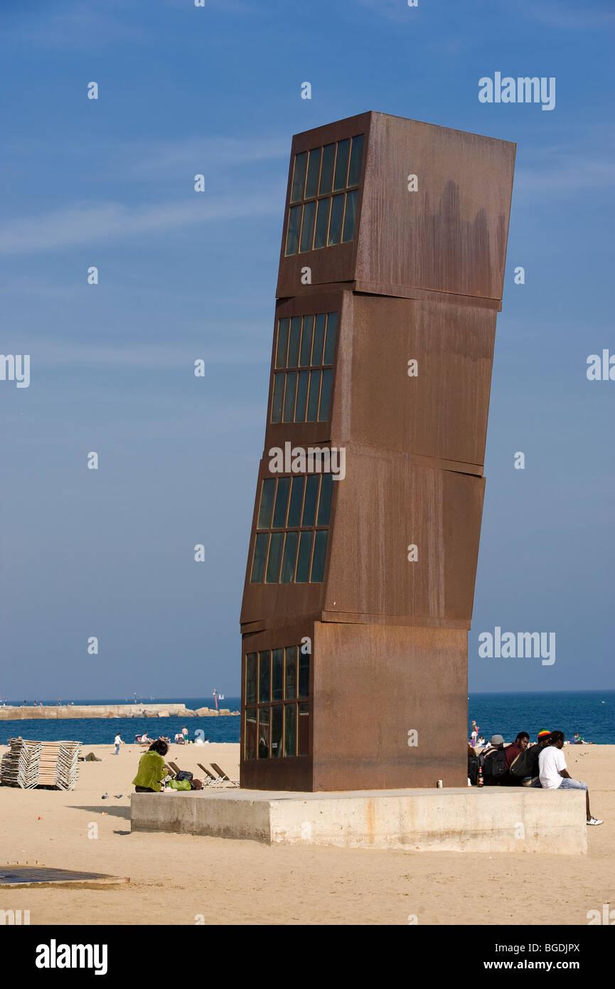 Objet d'art, tower, Barceloneta, Barcelona, Catalonia, Spain, Europe - Stock Image