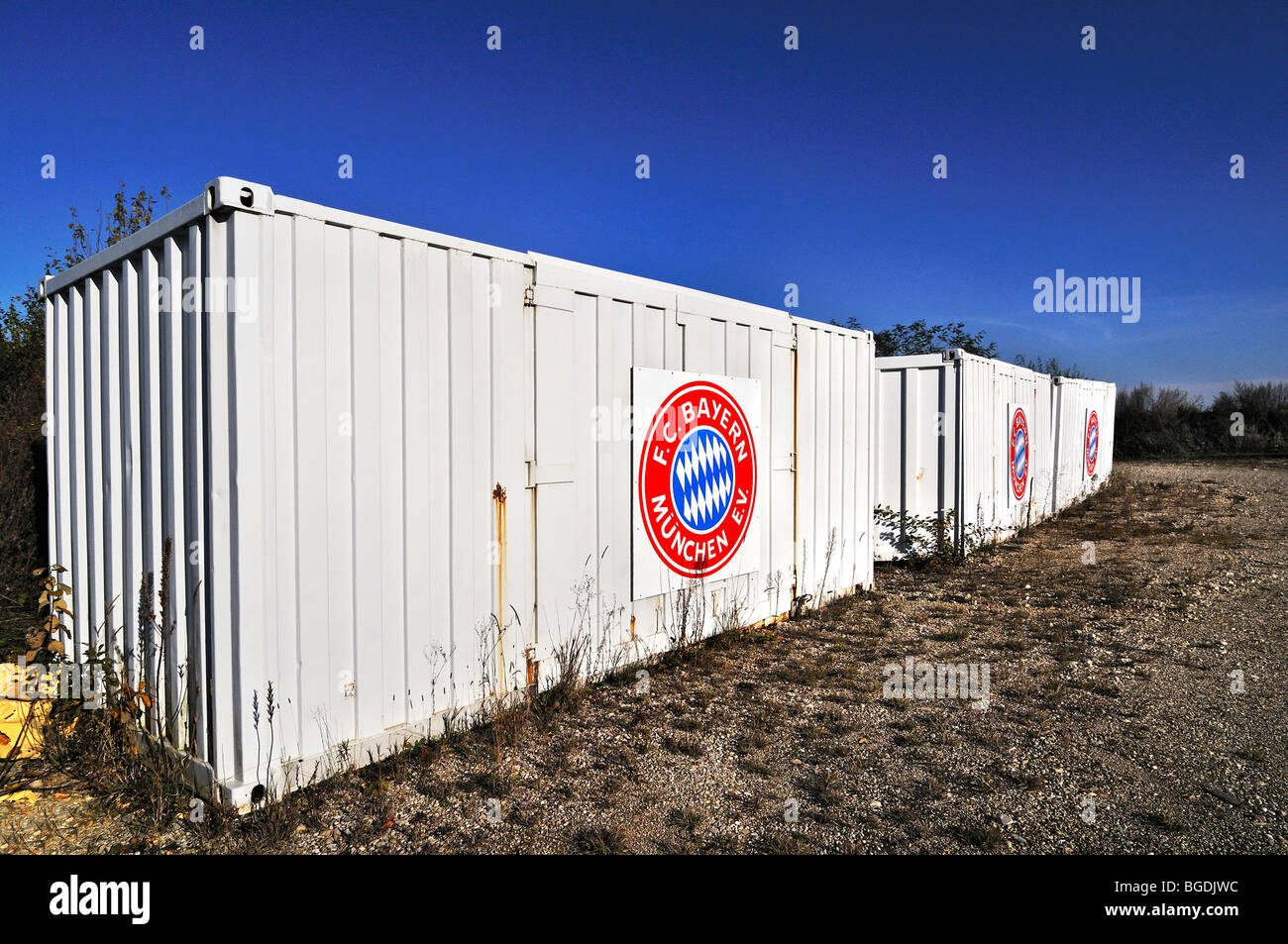 White metal containers with FC-Bavaria Logo, Germany, Europe - Stock Image