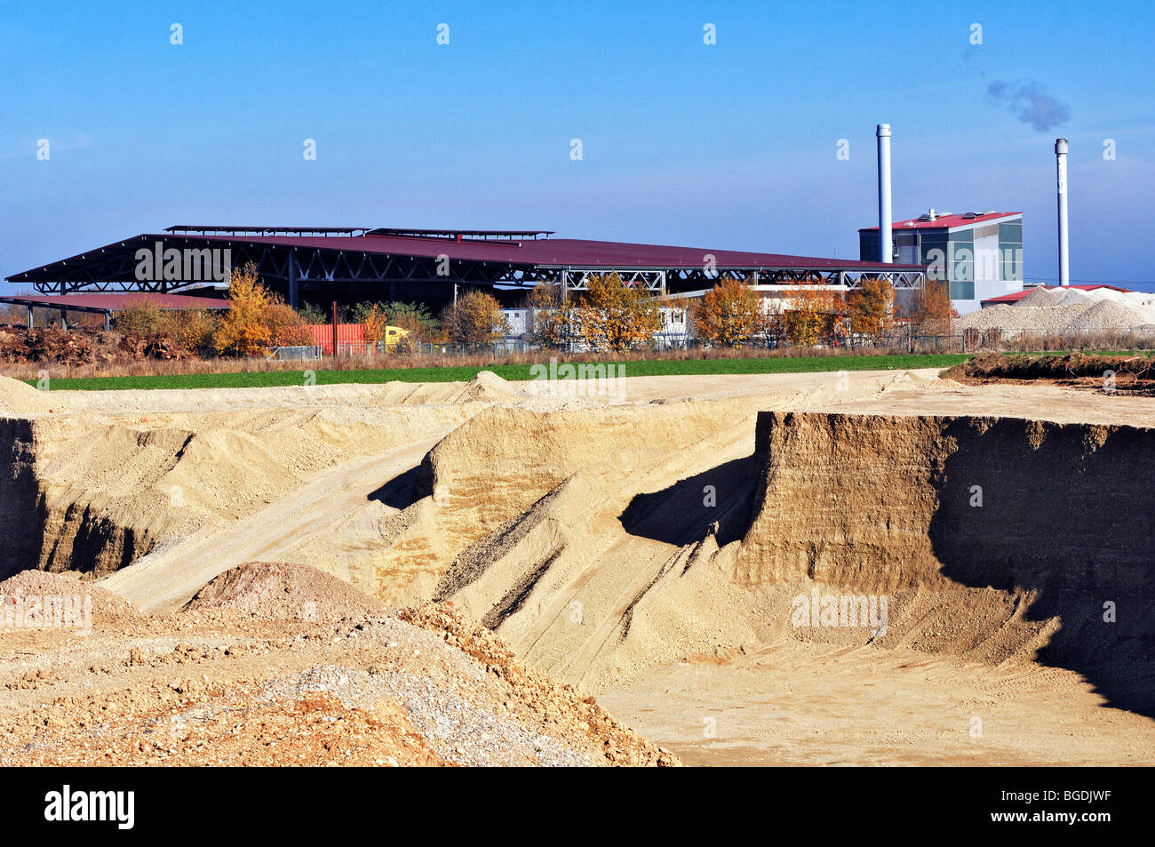 Gravel pit near Oberhaching, Bavaria, Germany, Europe - Stock Image