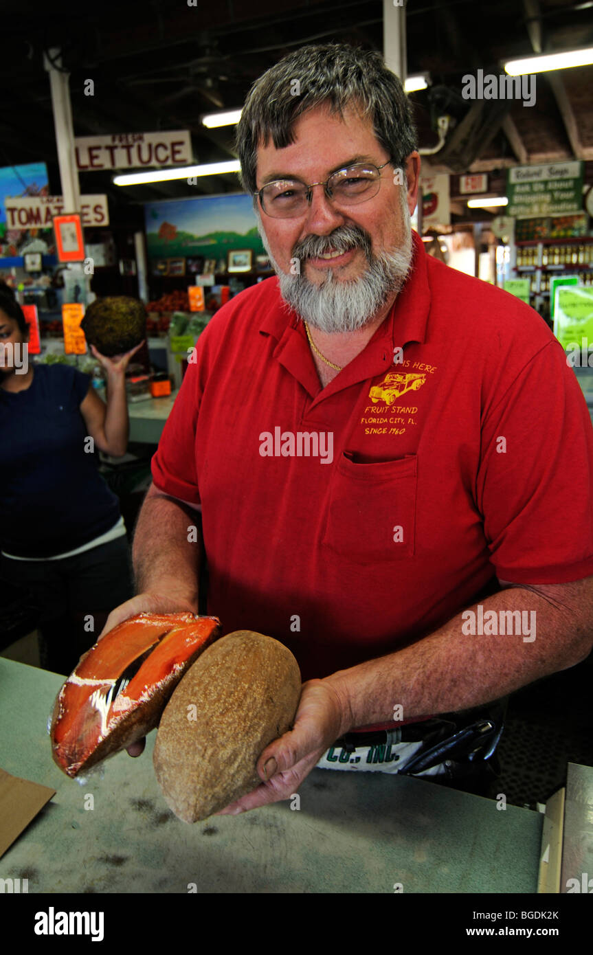 Robert from the Robert is here fruit stand, Homestead, Miami, Florida, USA Stock Photo