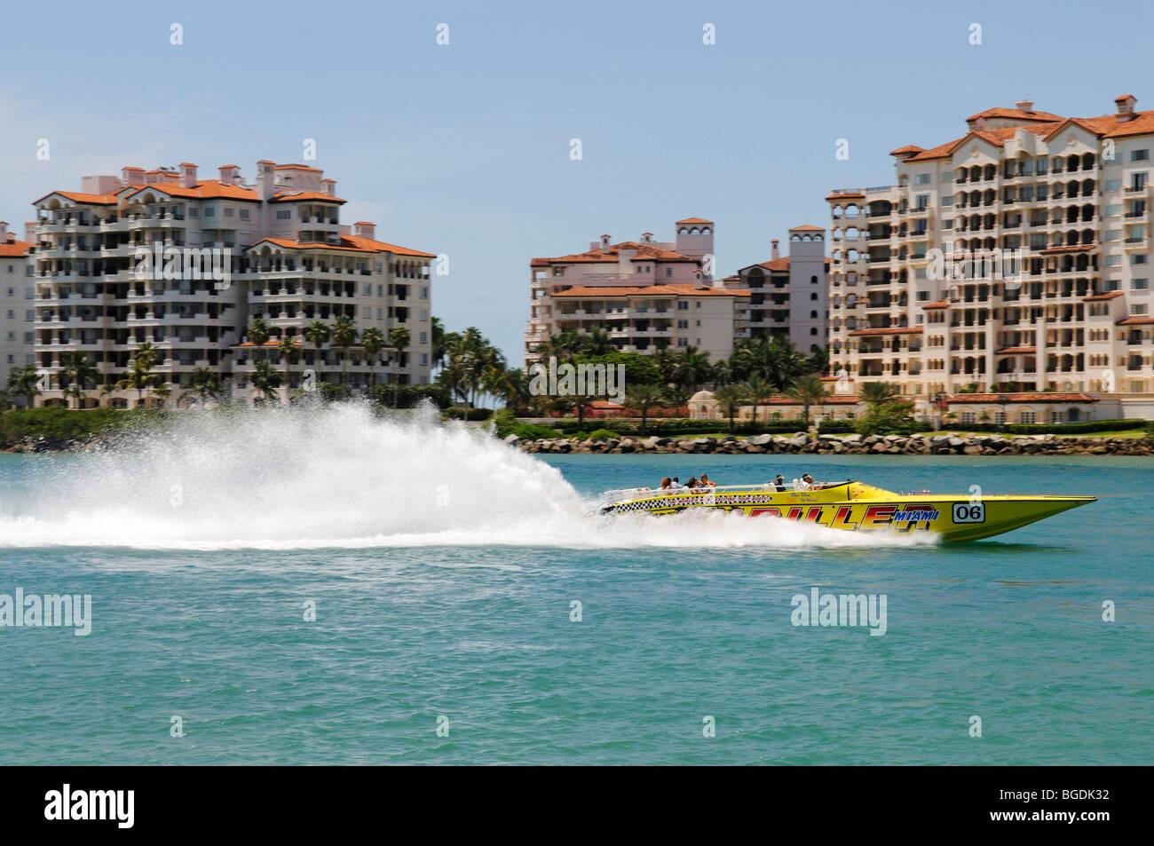 Speedboat, South Pointe Park, Miami South Beach, Florida, USA - Stock Image