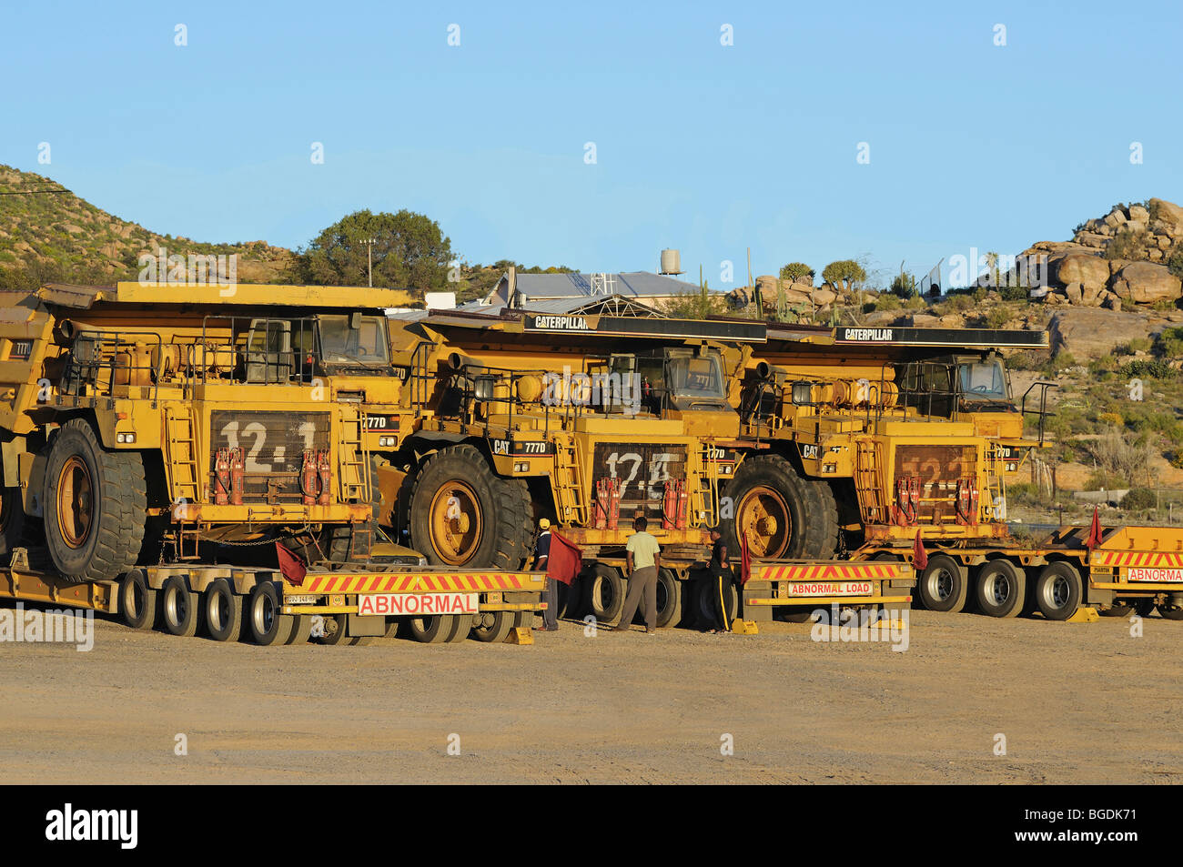 Transport of Caterpillar 777D off-highway trucks for diamond mines, South Africa, Africa - Stock Image