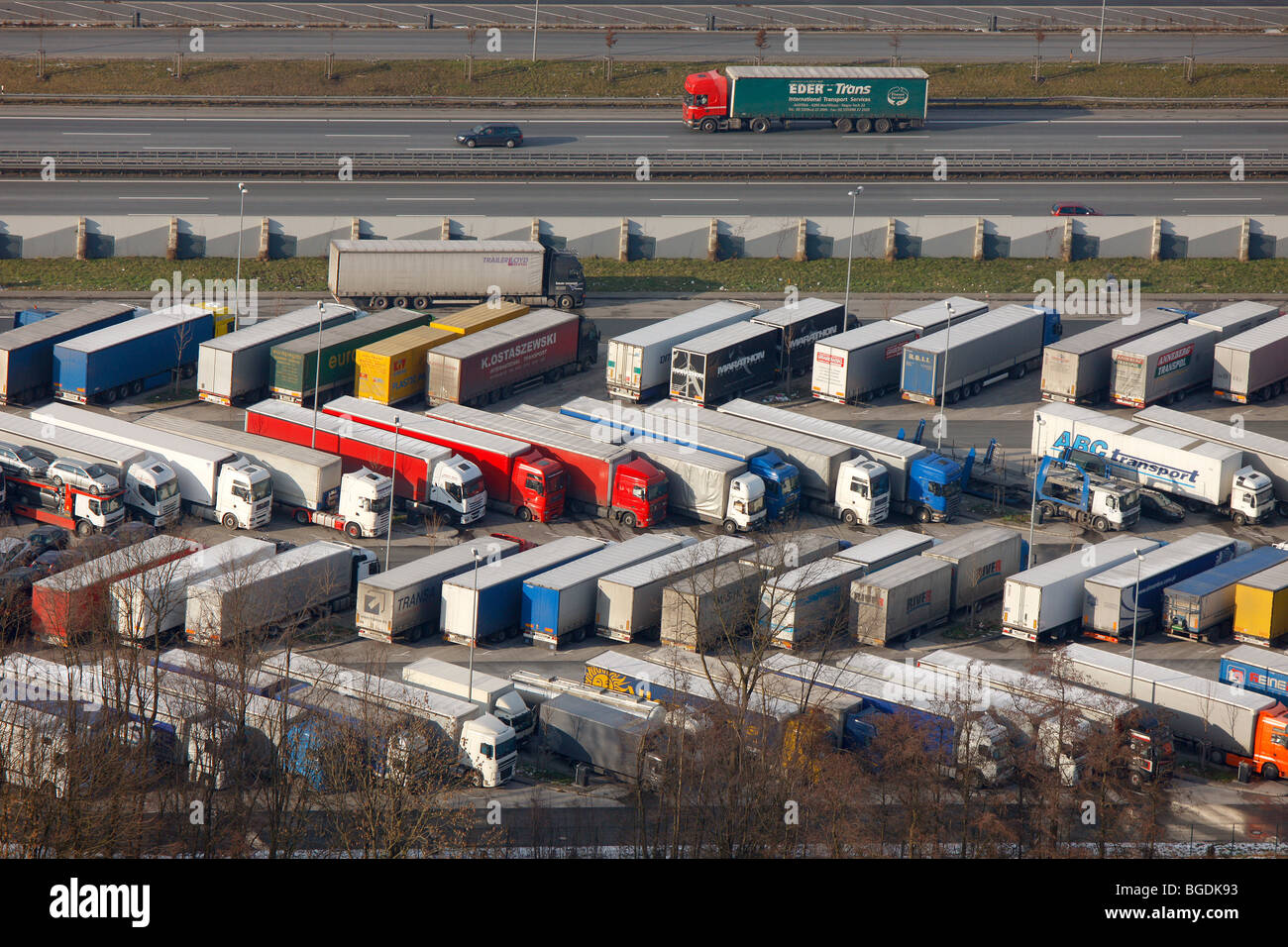 Aerial photo, Autobahn A2 highway, Rhynern rest stop, truck parking lot, drivers' working hours, Hamm, Ruhrgebiet Stock Photo