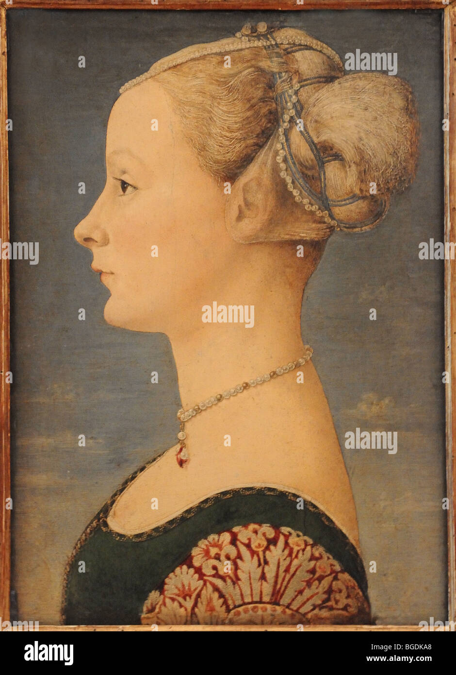 Painting by artist Piero del Pollaiuolo known as Portrait of a Lady RITTRATO DI DAMA in Museo Poldi Pezzoli Milan - Stock Image