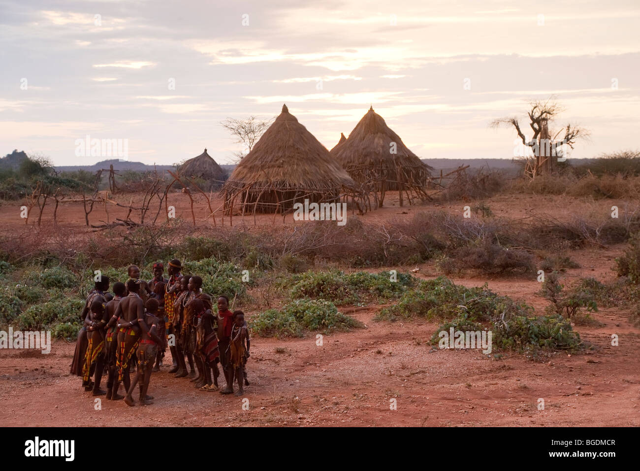 Hamer Dancers, Omo Valley, Ethiopia Stock Photo