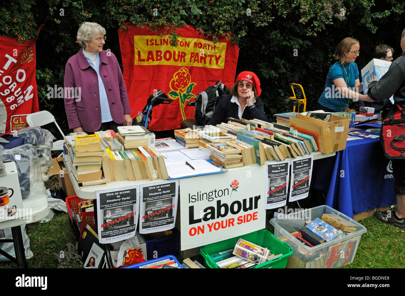 Islington North Labour Party Stall at the Gillespie Park Festival Highbury London England UK - Stock Image